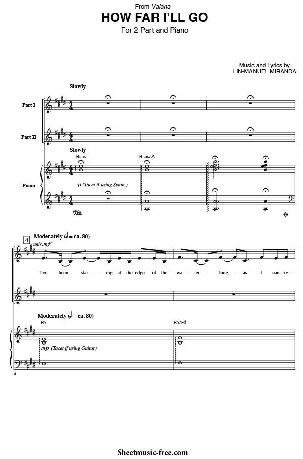 How Far I Ll Go Sheet Music From Moana Partituras Free Heroe