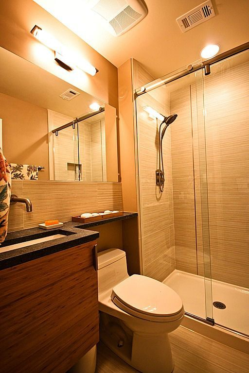 Small Bathroom  Hogar  Pinterest  Small Bathroom Shower Doors Mesmerizing Small Bathroom Fans Decorating Design