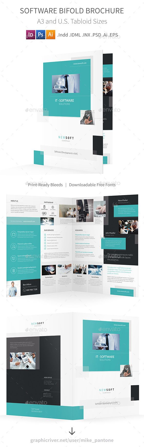 software company bifold halffold brochure template psd vector eps indesign indd ai illustrator