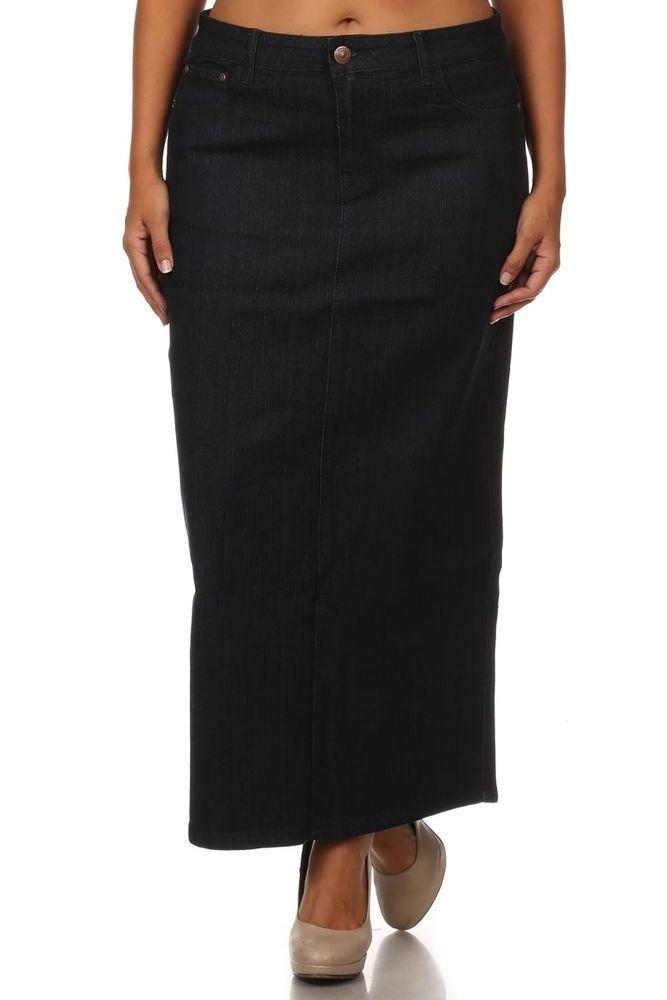 Women's Jeans Skirt Long Skirt Stretch Skirt Black Denim Skirt ...