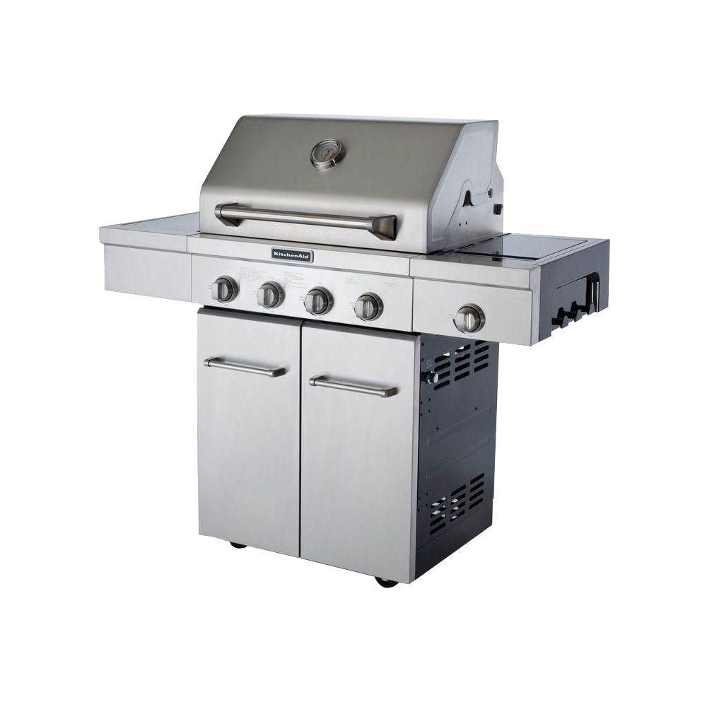 KitchenAid 4-Burner Propane Gas Grill In Stainless Steel