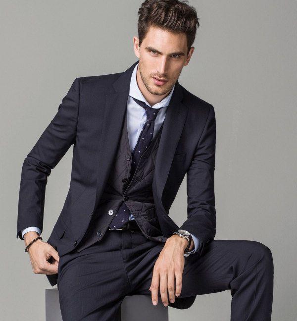 Tendencias Trajes Hombre 2015 Traje Azul Massimo Dutti Well Dressed Men Mens Formal Wear Men S Tuxedo Styles