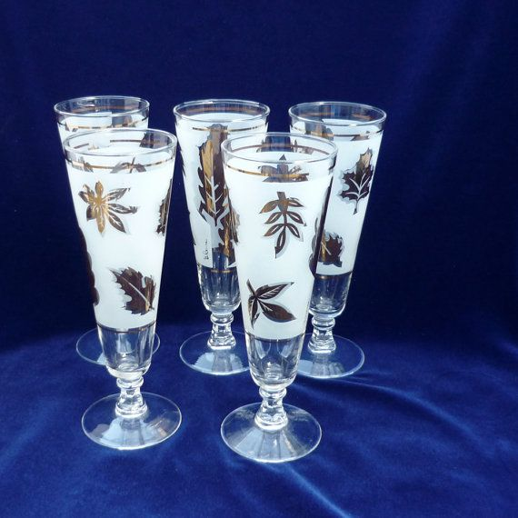 Wonderful Vintage Glassware   Frosted   Gold Leaves   Mid Century Modern   Barware    Pilsner