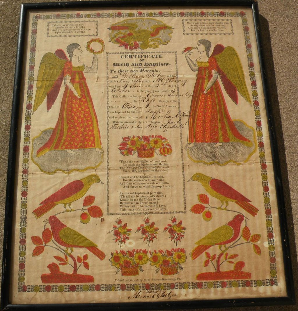 American Folk Art Early 19th Century Pennsylvania Dutch Fraktur