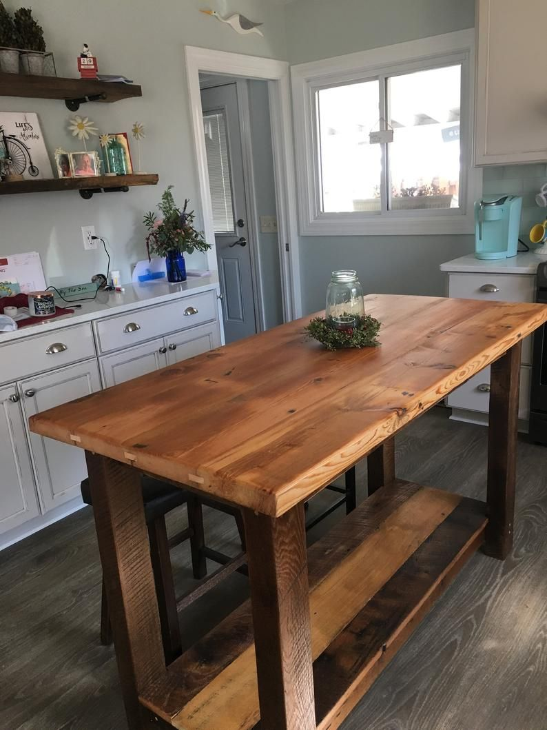 Rustic Kitchen Island Made From Reclaimed Pine Barnwood Made To Order Rustic Kitchen Island Custom Kitchen Island Kitchen Island With Seating