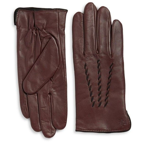 Lauren Ralph Lauren Thinsulate Leather Gloves ($60) ❤ liked on Polyvore featuring accessories, gloves, coffee, leather gloves, cashmere-lined leather gloves, lauren ralph lauren, lined gloves and lauren ralph lauren gloves