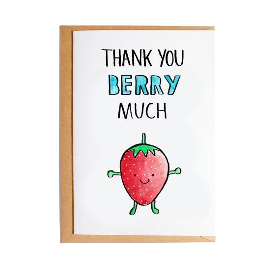 Thank You Berry Much A6 Blank Card Watercolour Pun