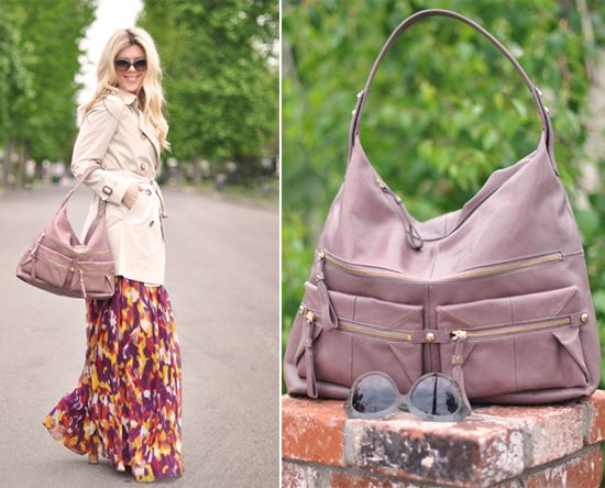 Fashion blogger Love, Maegan pairs her Kooba 'Alexander' bag with a maxi skirt and sweet trench!