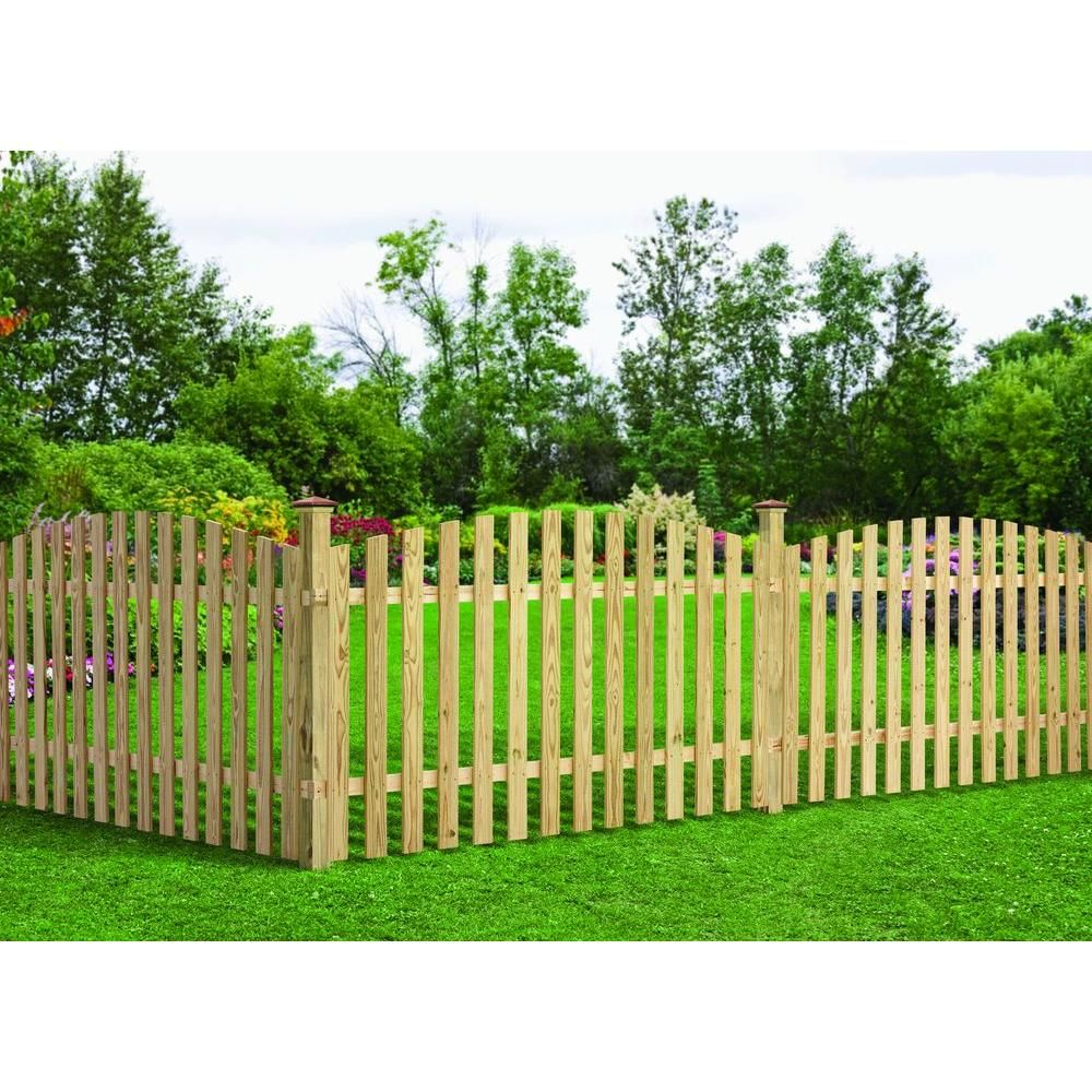 Null 4 Ft H X 8 Ft W Pressure Treated Pine Spaced Arched Top Fence Panel About 43 For 8 Ft Panels Wood Picket Fence Fence Panels Outdoor Essentials