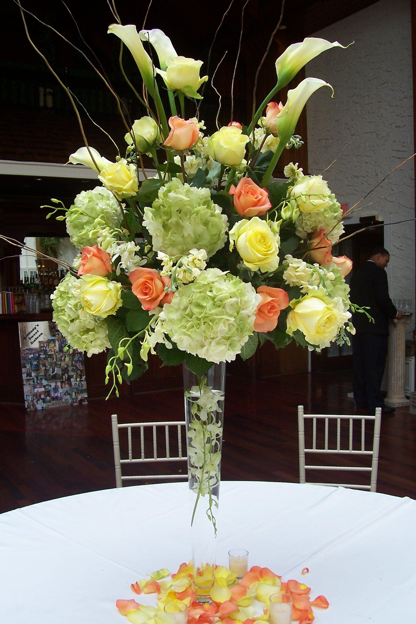 Fantastic High Centerpieces Of Green Hydrangeas Calla Lilies And Download Free Architecture Designs Scobabritishbridgeorg