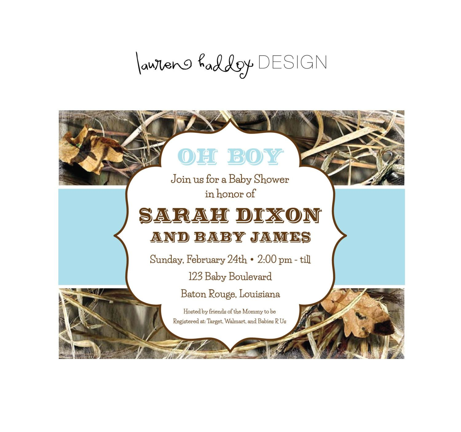 Diy Camo Baby Shower Invitation 12 00 Via Etsy