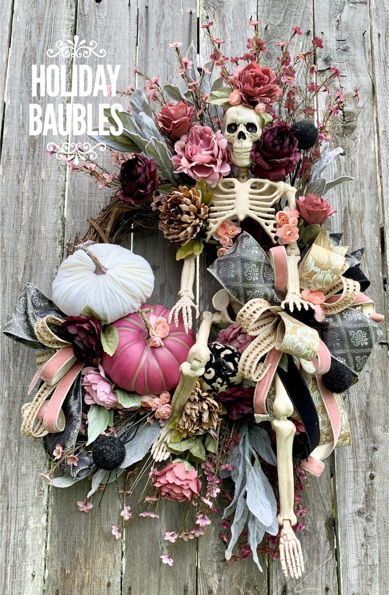 Halloween Wreath, Skeleton Hobo Grapevine, Halloween Grapevine, Halloween Floral Skeleton Wreath, Halloween Decor #halloweenwreaths