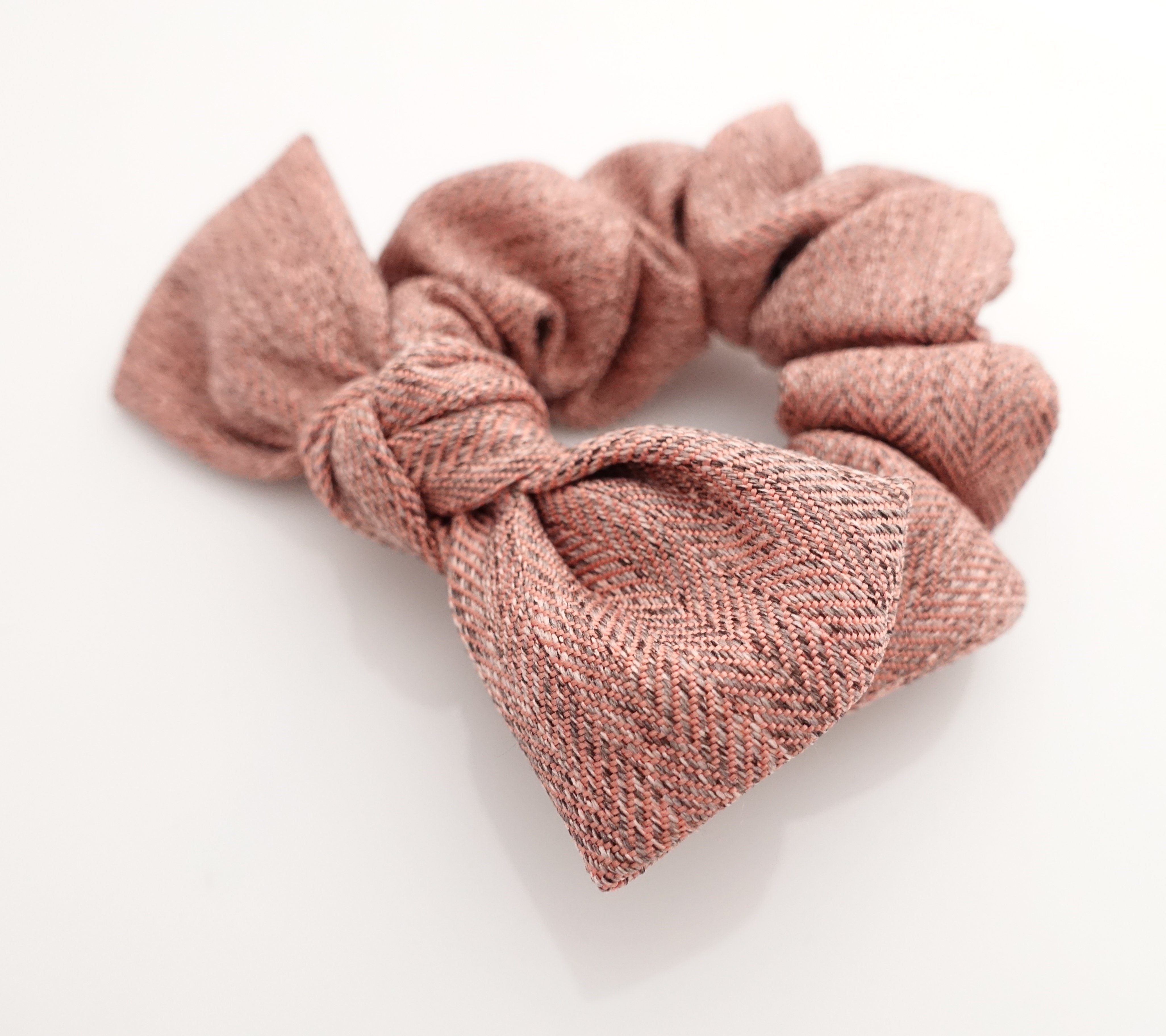 herringbone pattern bow knot hair scrunchies wire scrunchie for women cc24d2169b9