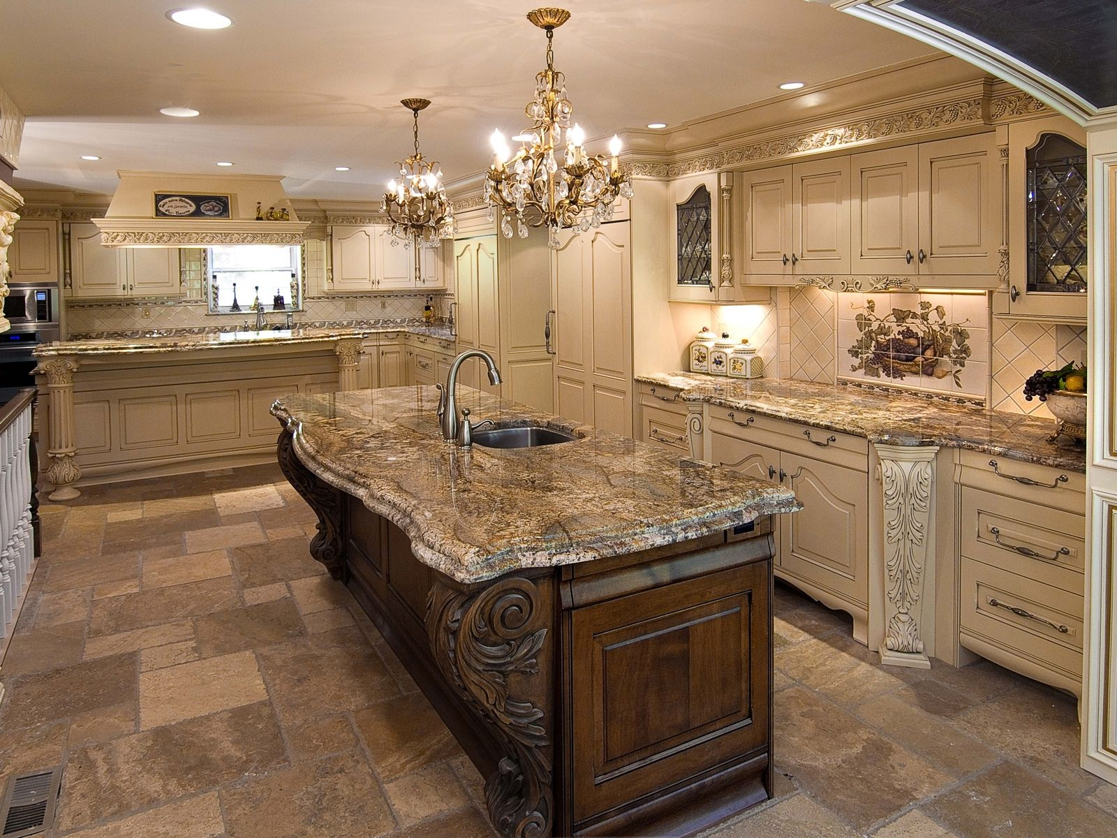 Ornate kitchen cabinets custom made ornate kitchen by for Custom kitchen remodeling