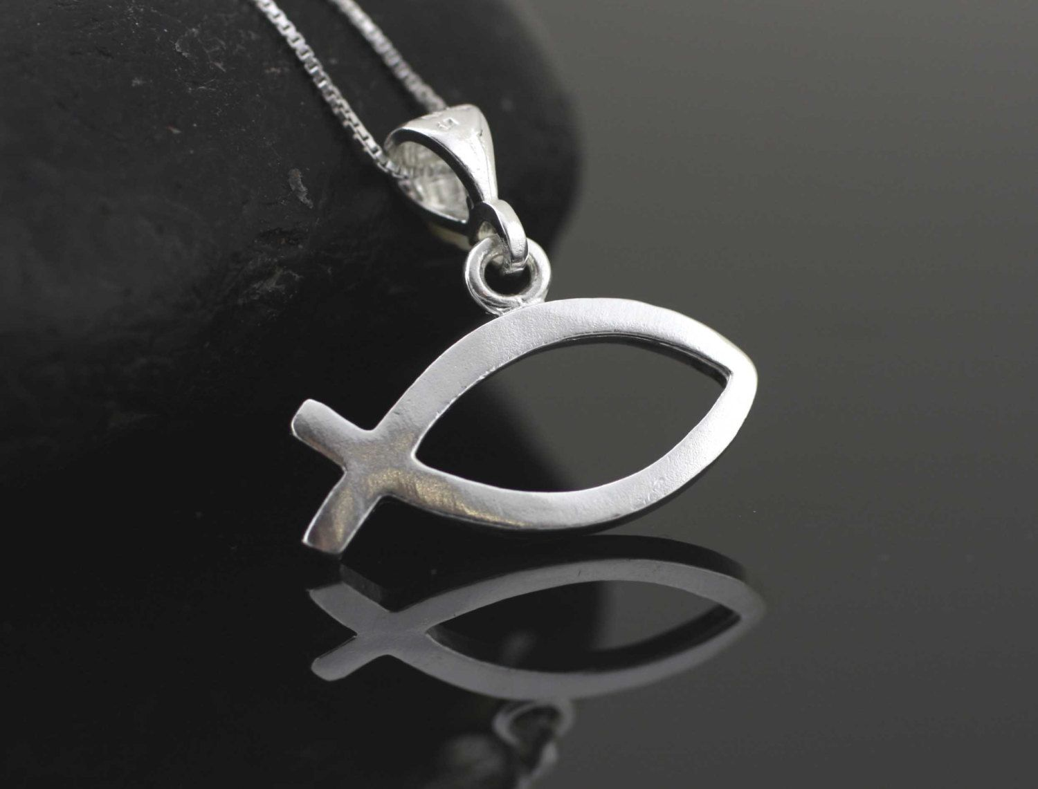 Silver christian fish necklace sterling silver ichthys sterling silver christian fish necklace sterling silver ichthys sterling silver jesus fish christian fish biocorpaavc Choice Image
