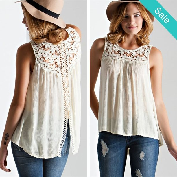 ab5a373665 Crochet Lace-Up Back Top - Cream - On Sale for  24.00 (was  39.00 ...