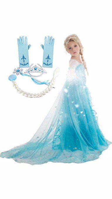 Frozen Inspired Dress (5-6 Years/Tag 130, 5-Piece Elsa) ~Happy - frozen halloween decorations