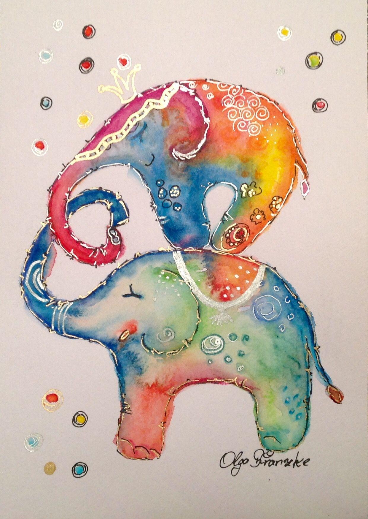 Elefanten Circus Kinder Bilder Krone Herz Aquarell Mit