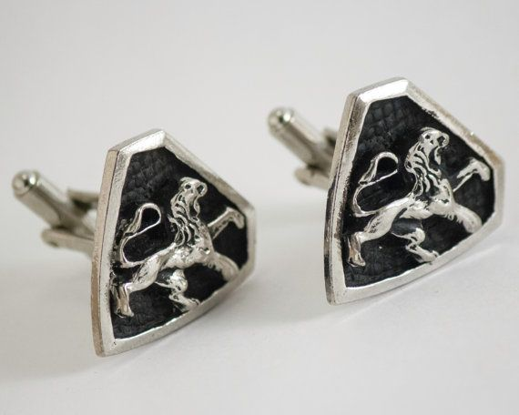 Vintage Cufflinks  Prancing Lion Shield Heraldry by CuffsandClips