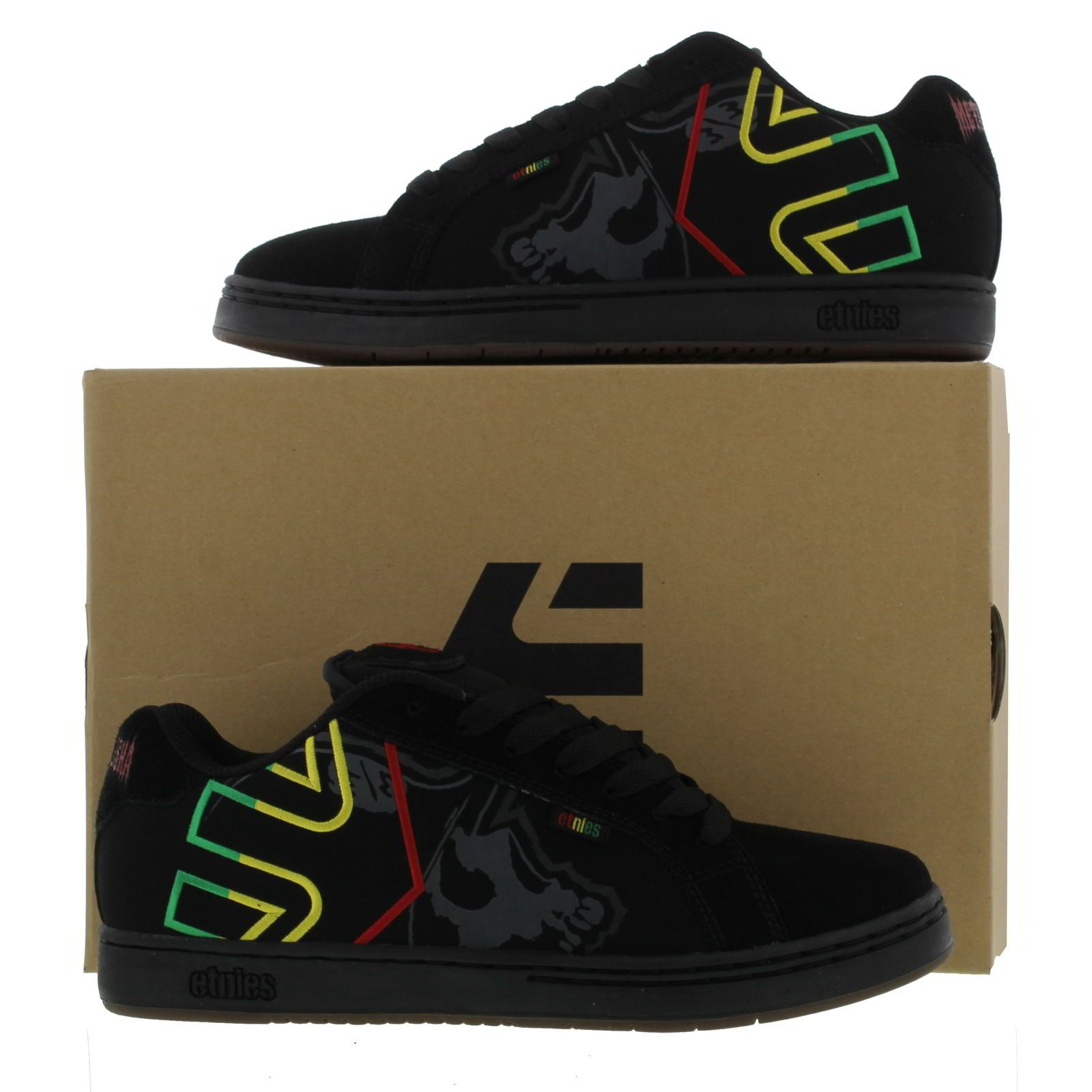 Etnies Mens Metal Mulisha Fader Trainers Black Black Rasta