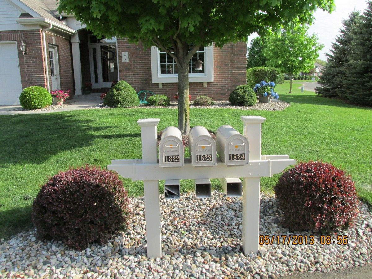Multiple Mailboxes Can Still Be Attractive When You Chose A Vinyl Option From Vinyl By Design Practical Can Mailbox Landscaping Mailbox Landscape Diy Mailbox
