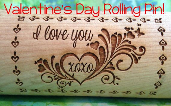 Valentine's Day Love in 3 Patterns Engraved by RollingPinDoodles