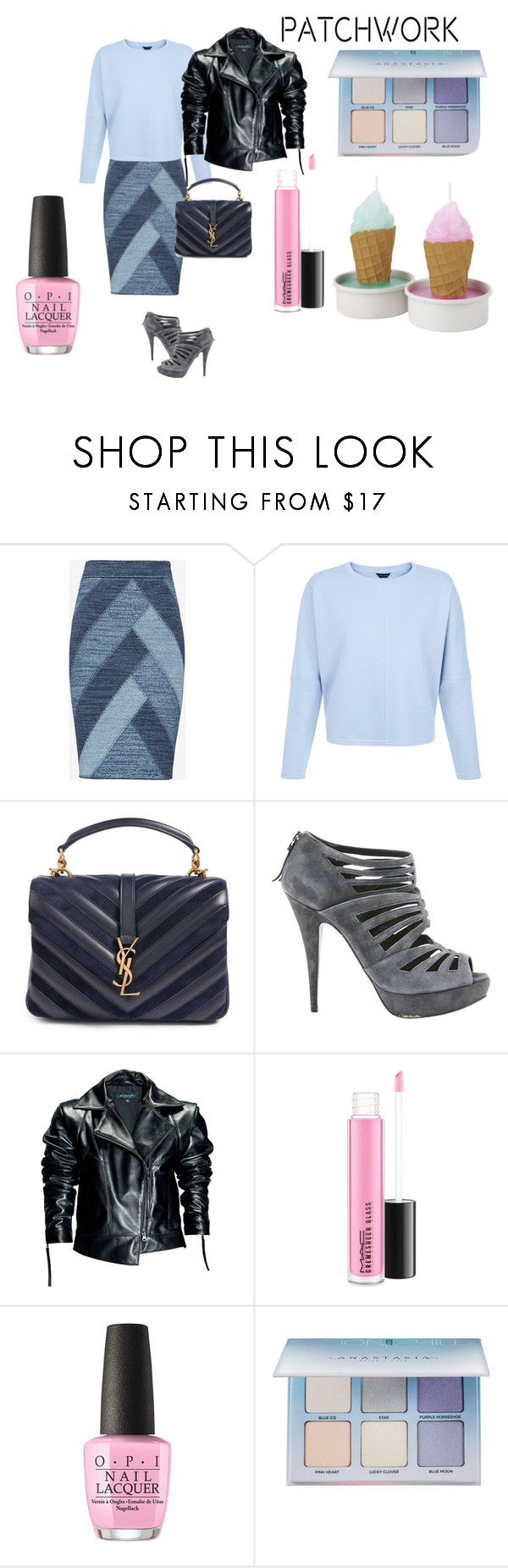 """""""Patchwork"""" by byasha ❤ liked on Polyvore featuring BCBGMAXAZRIA, Yves Saint Laurent, Miu Miu, Leka, OPI and Anastasia Beverly Hills"""