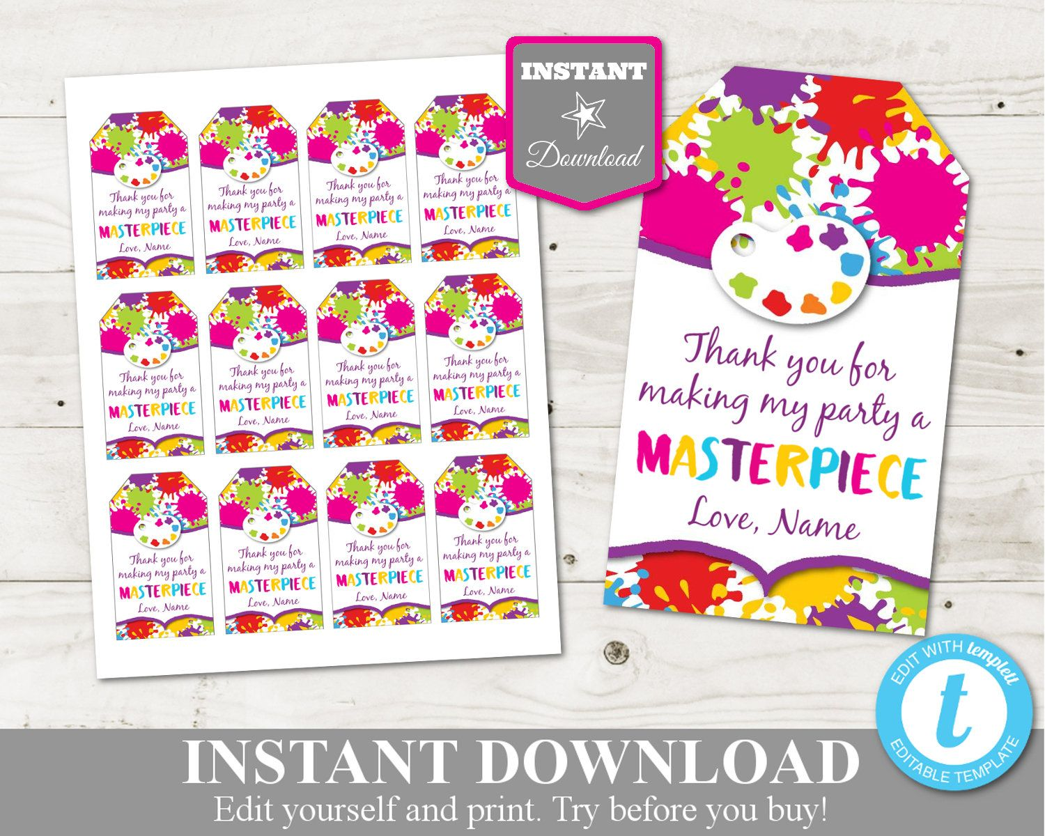 Art Painting Birthday Party Ideas Printable Art Party Thank You