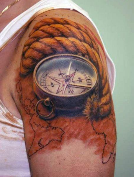Tatuaż Kompas 3d Tattoos Pinterest Tattoos Compass Tattoo I