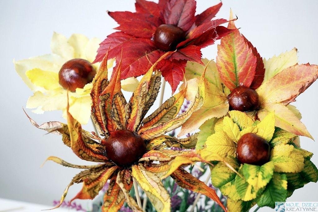 Kwiaty Z Lisci I Kasztanow Diy Moje Dzieci Kreatywnie Fall Wreath Crafts For Kids Crafts