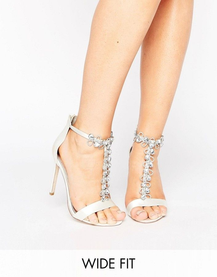 Asos Hermosa Wide Fit Bridal Heeled Sandals