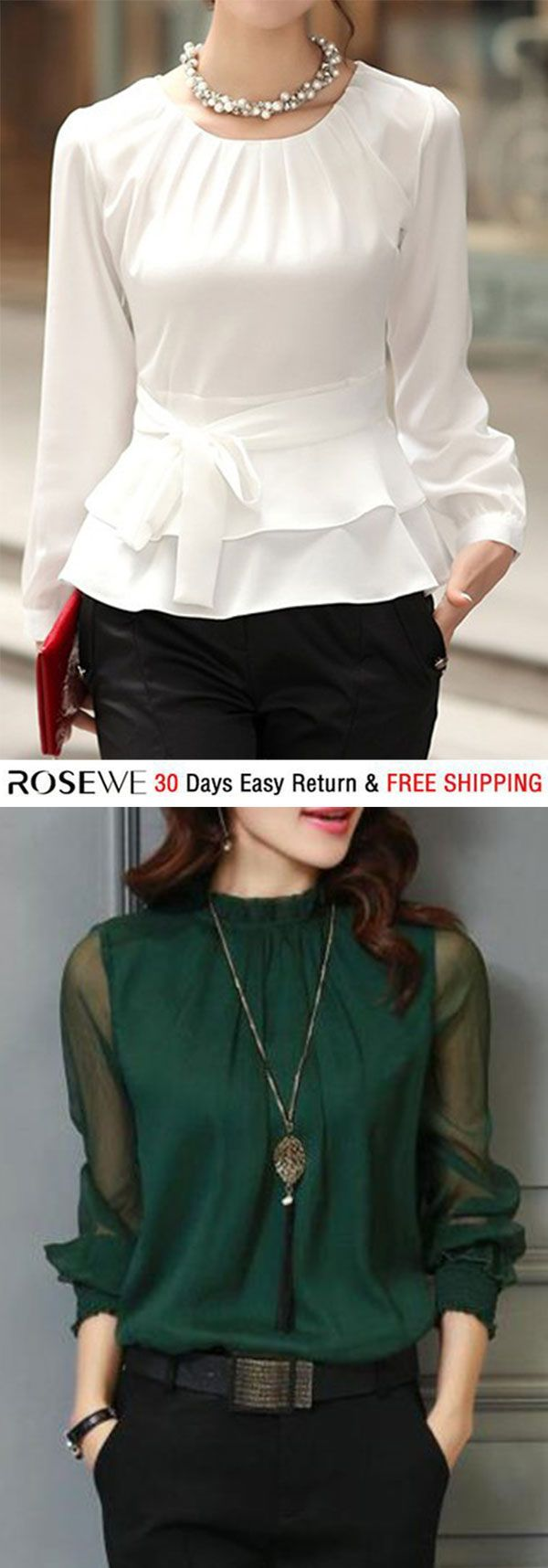 7ef55923719f13 Layered Long Sleeve White Tie Front Blouse. rosewe blouse