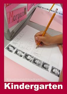 Writing Station - Get to know you activity. Have students practice writing their classmates names next to their picture.