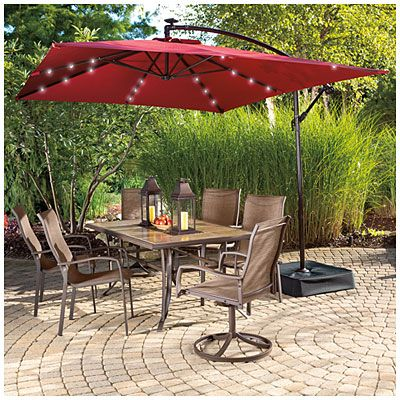 View Wilson U0026 Fisher® Solar Offset X Rectangular Umbrella With Base U0026 Solar  Lights Deals At Big Lots