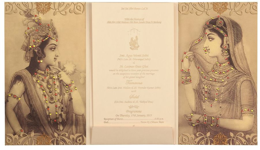 Radha Krishna Wedding Card In Cream And Golden Colour