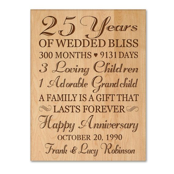 25th Wedding Anniversary Gift For Parents: Personalized 25th Anniversary Gift For Him,25th Wedding