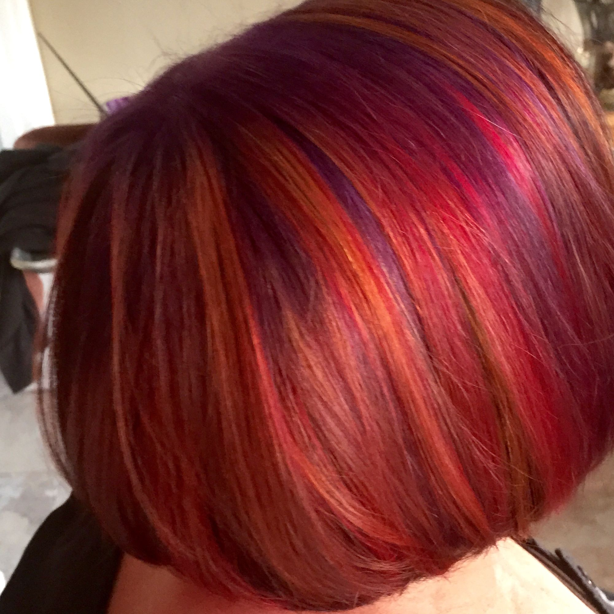 A Delicious Blend Of Purple Red Orange And Blue Wine Hair Color Wine Hair Hair Styles