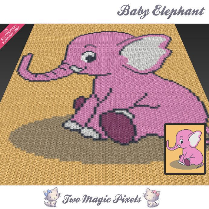 Elephant c2c graph crochet pattern; instant PDF download; baby ... | 690x690