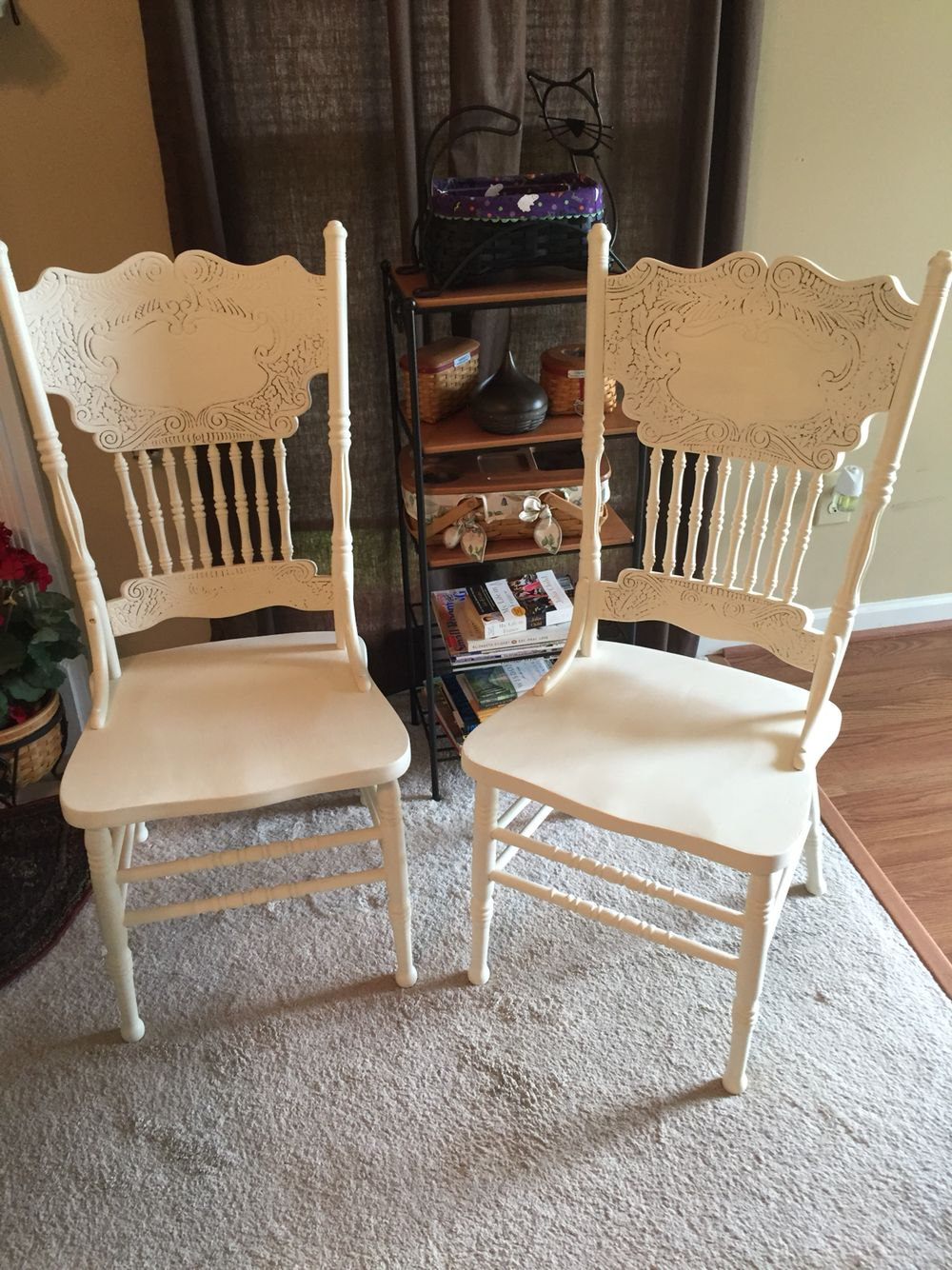 Sold Vintage Pressed Back chairs in AS Old White