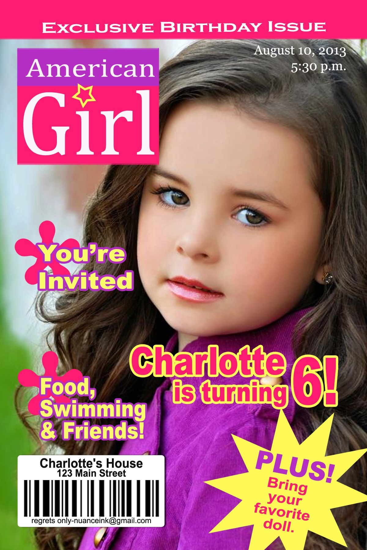 Download Now American Girl Dolls Birthday Party Invitations Download
