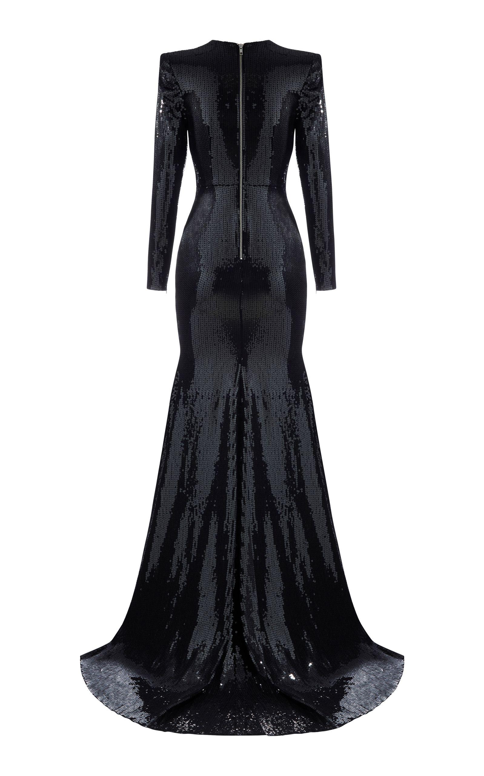 GABRIELLEu0027S AMAZING FANTASY CLOSET   Alex Perryu0027s Black Glamor Fully  Sequined Fit U0026 Flare Gown (