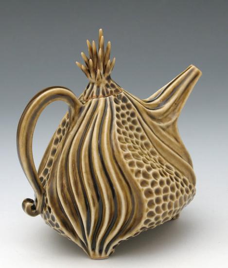 Porcelain urchin teapot in olive green celadon. Roberta Polfus
