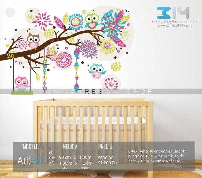 Vinilo 3 14 vinilos decorativos arbol infantil rama for Vinilo habitacion bebe nina