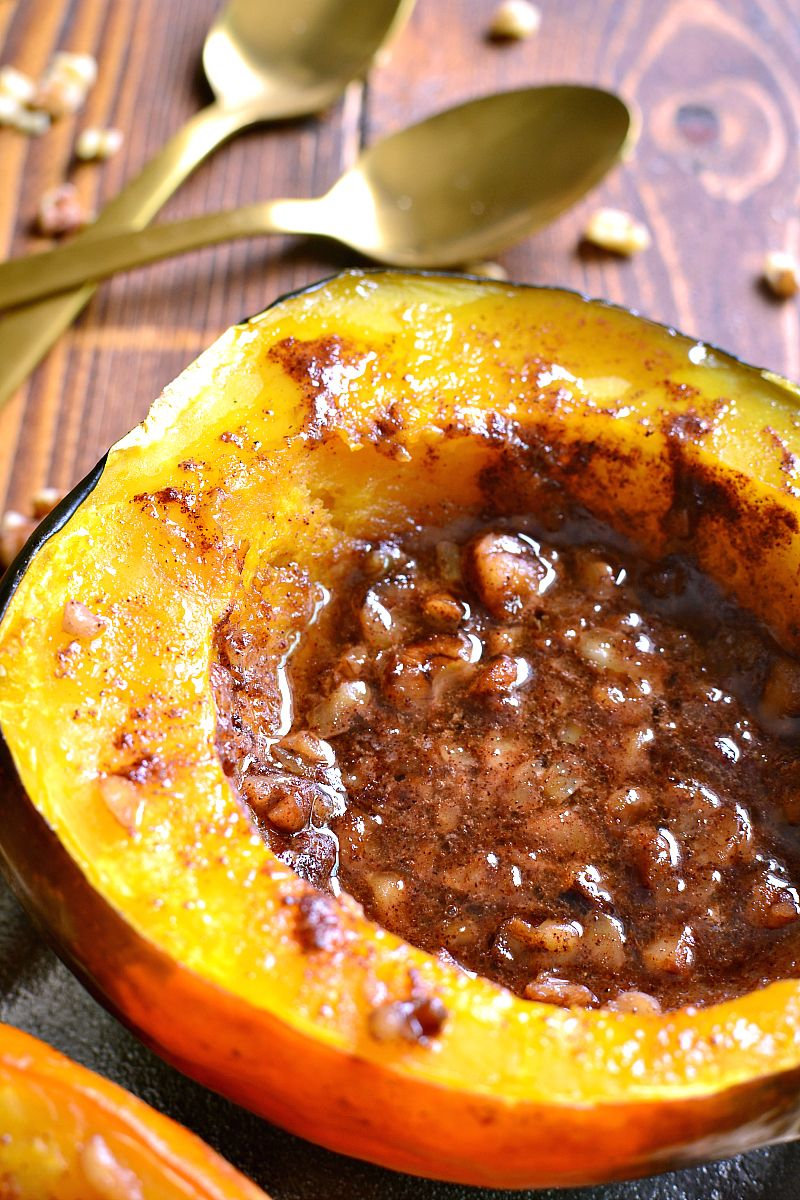 Tender Acorn Squash Baked With Brown Sugar Butter Cinnamon
