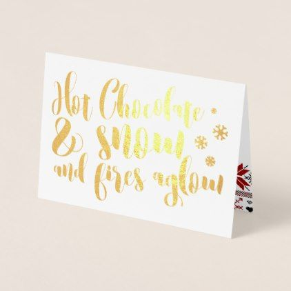 Hot Chocolate  Snow Rhyme Design Foil Card - christmas cards merry