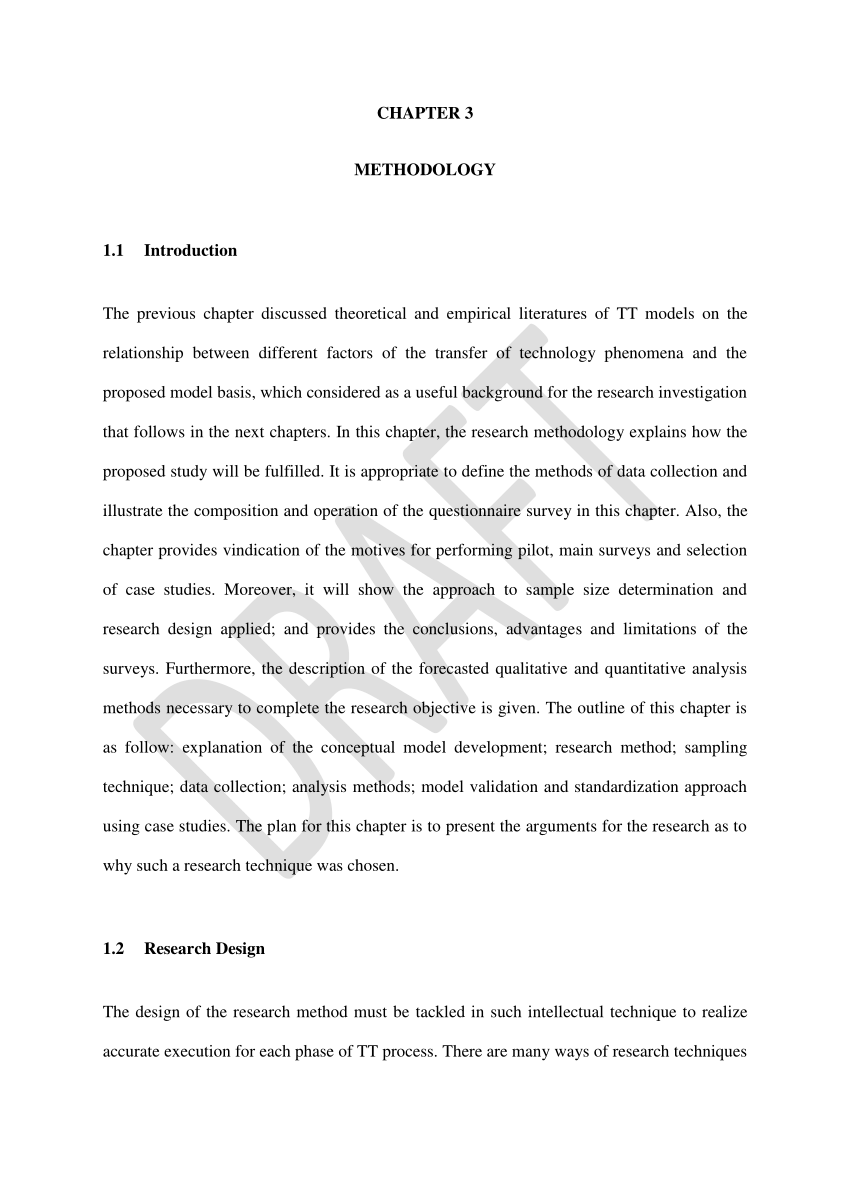 Research Paper Format Chapter 3 Technology Transfer Methodology