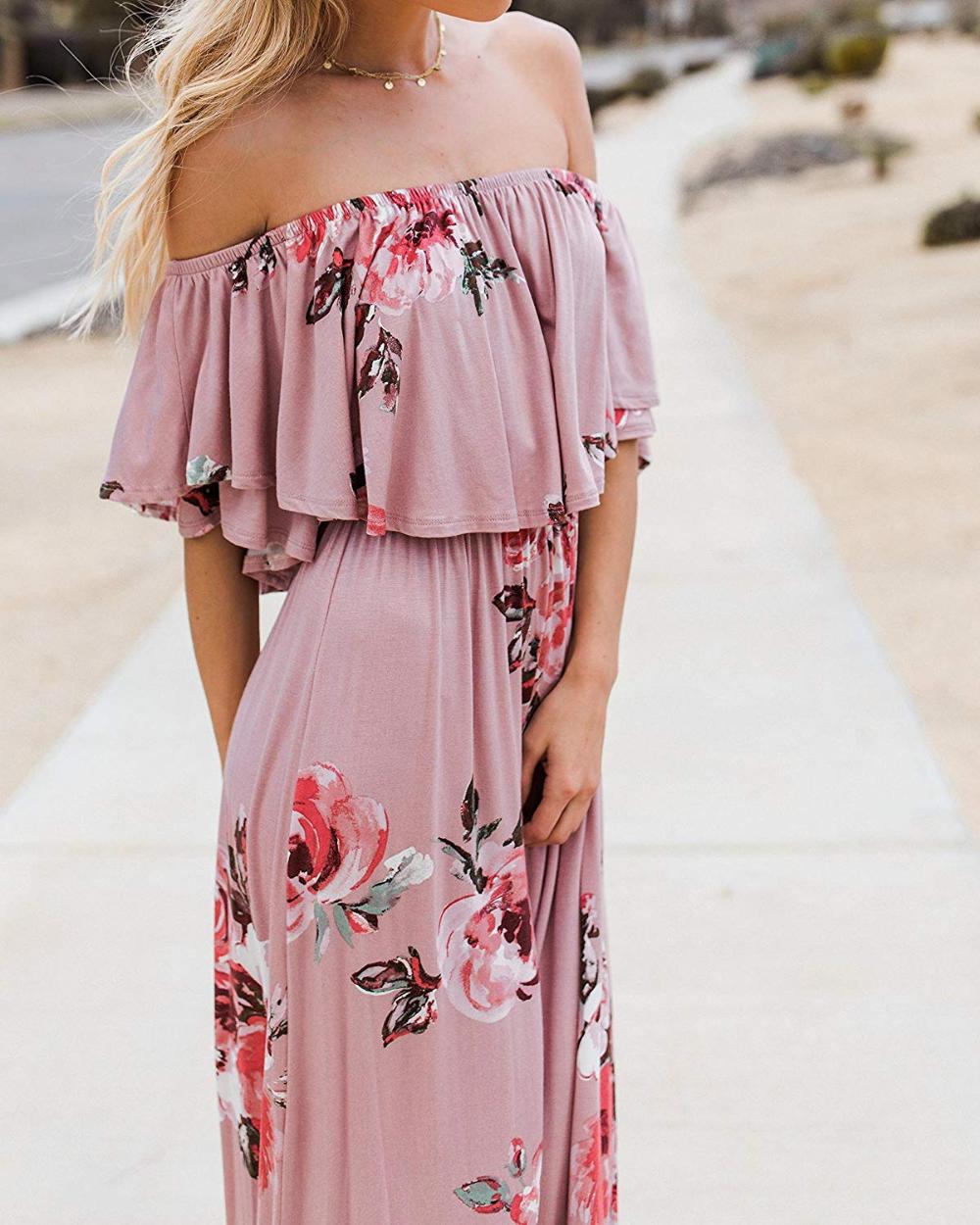 Womens Summer Floral Off The Shoulder Dress Flowing Summer Dresses Pretty Summer Dresses F Long Dress Casual Summer Boho Chic Dresses Casual Long Maxi Dress [ 1250 x 1000 Pixel ]