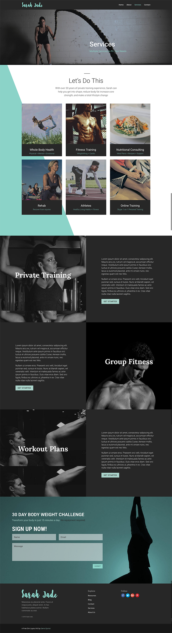 A Free Divi Layout for a Fitness or Coaching Website