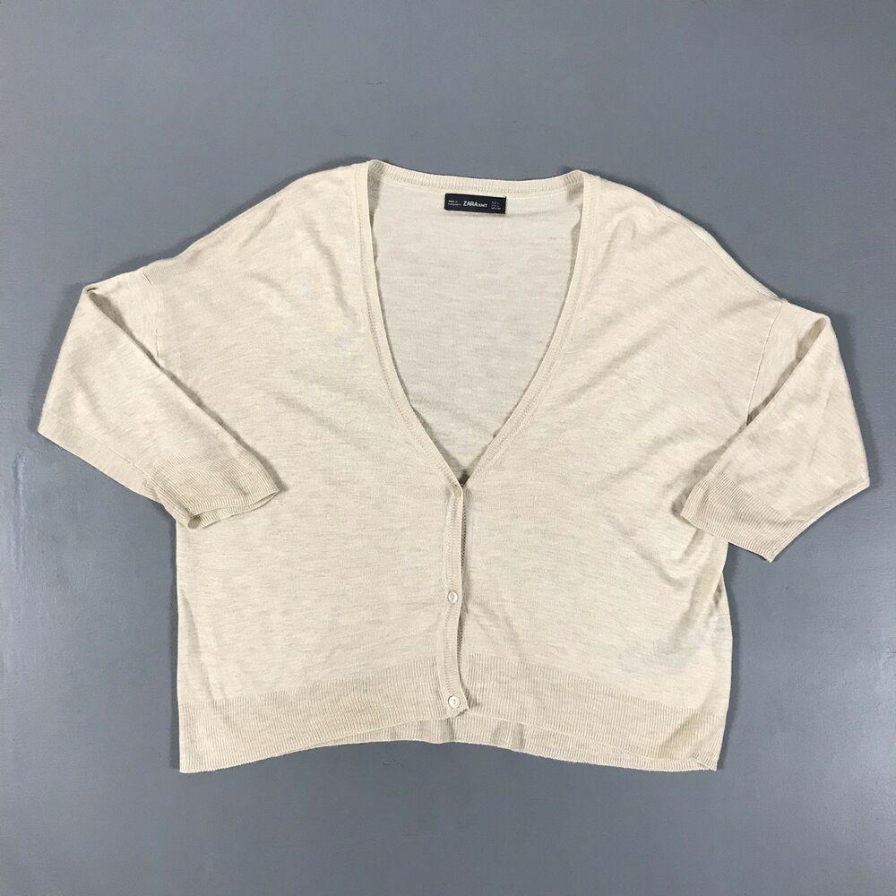 Zara Knit Womens L Sweater Top Boho Crop V Neck Beige Tan