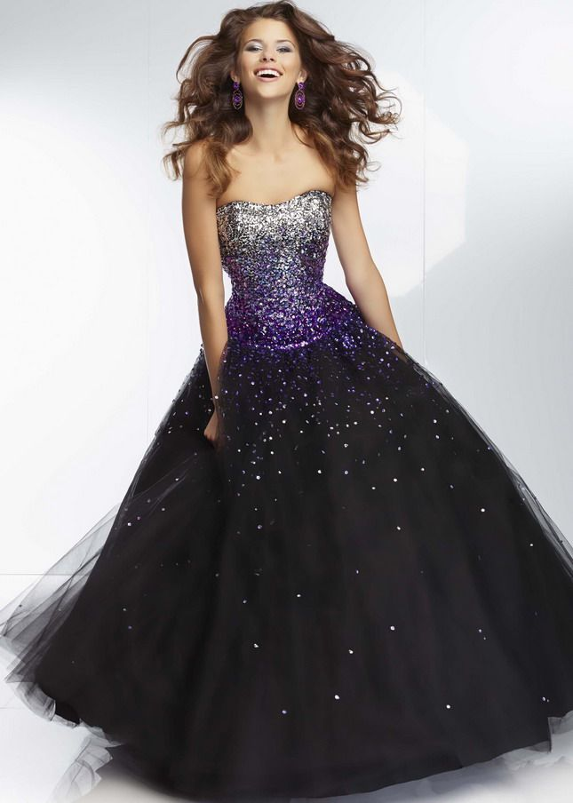 Purple and Black Ball Gown Prom Dress
